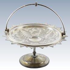 Antique Aesthetic 1880s Meriden Silver Plate Pelican Brides Basket Centerpiece