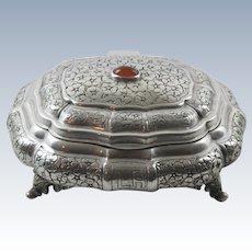 Continental 800 Silver Jeweled Embossed Vanity Casket Box Jewelry Trinket