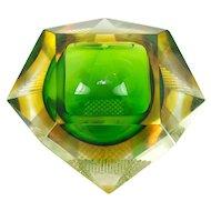 Mid Century Modernist Italian Murano Sommerso Madruzzato 12 Facet Check Art Glass Bowl