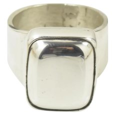 Large Vintage Modernist Mexican Sterling Silver Ring Size 7.75