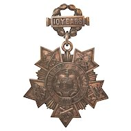 Antique Tiffany and Co. N.Y. National Guard 10 Years Service Medal 1900s