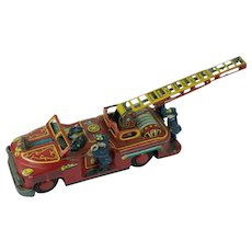 Vintage Tin Japanese Fire Truck Engine Friction Bell Toy