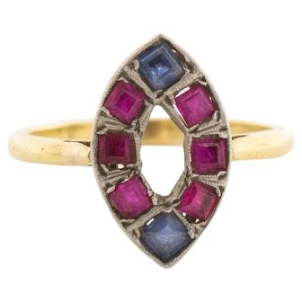 Antique Platinum 14k Gold Ruby Sapphire Ring 7