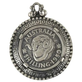 Vintage 1950 Shilling Fancy Coin Sterling Silver Pendant