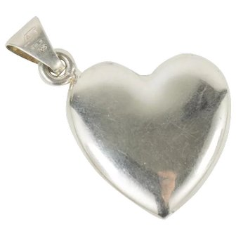 Vintage Italian Sterling Silver Puffy Heart Pendant