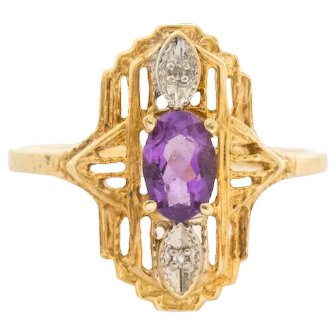 10k Yellow Gold Fancy Filigree Amethyst Diamond Ring Size 6.5