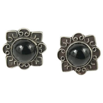 Old Mark Mexican Sterling Silver Onyx Screwback Earrings