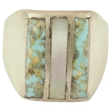 Turquoise & Mother of Pearl Natural Sterling Silver Mens Ring Size 10.5