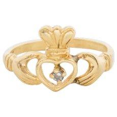 Vintage 14k Gold Diamond Irish Claddagh Ring Ladies Size 5.5