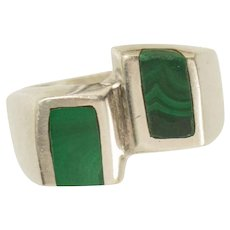 Vintage Sterling Silver Mid Century Banded Malachite Mexican Ring Size 8.25
