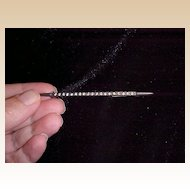 Sterling Bar Pin With Clear Rhinestones