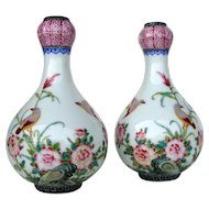 Chinese Miniature Famille Rose Vases