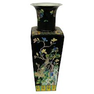 Chinese Famille Noire Square Vase
