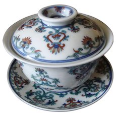 Chinese Doucai Bowl, Stand and Lid