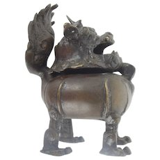 Chinese Bronze Buddhist Lion Censer