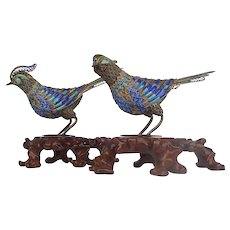 Chinese Pair of Silver Cloisonne Pheasants
