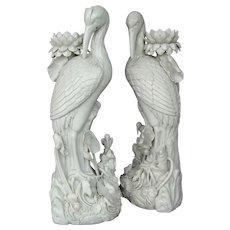 Chinese Blanc de Chine Heron Candlesticks