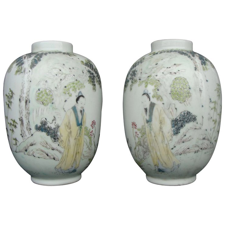 Chinese Qiangiang Lantern Vases Pair Asia Of Old Ruby Lane