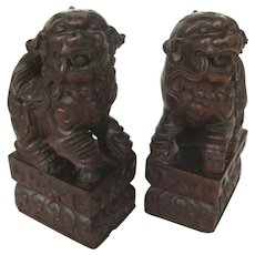 Chinese Wooden Buddhist Lions (Pair)