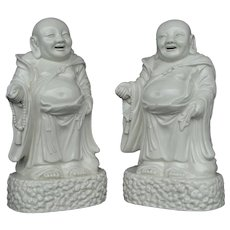 Chinese Blanc de Chine Figures of the Immortal Budai (Pair)