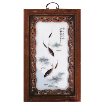 Chinese Fish Porcelain Plaque