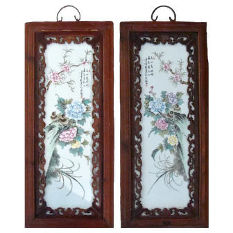 Chinese Porcelain Flower Plaques