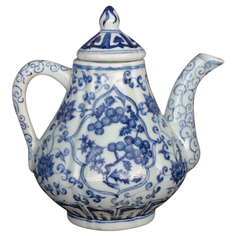 Chinese  Underglaze Blue Ewer and Cover