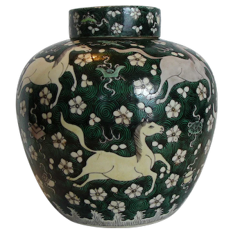 Chinese Famille Noir Jar and Cover