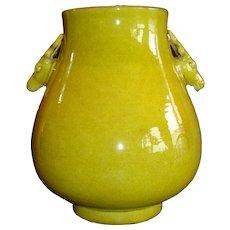 Chinese Yellow Hu Vase