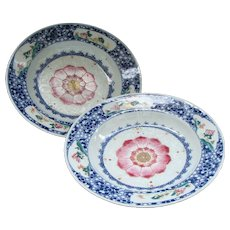 Chinese Lotus Bloom Plates (Pair)