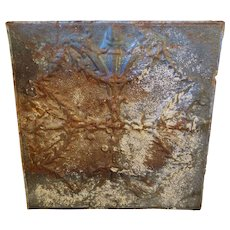 "Beautiful ""Torch"" Pattern Antique 24"" Tin Ceiling Tile"