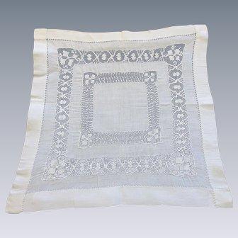 Pristine Antique Drawn Needlework Handkerchief