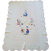 Spectacular Depression Era Applique Youth Quilt