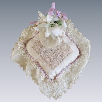 Divine Antique French Ivory Floral Silk & Lace Boudoir Pillow