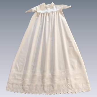 Exquisite Antique Christening Gown Handmade with Aryshire Embroidery and Pintucks