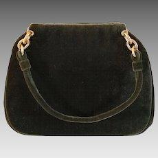 Vintage Bienen-davis Handbag  - Moss Green Velvet