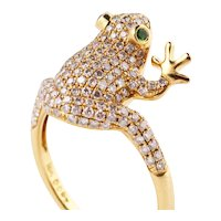 Frog ring with diamonds, emeralds and gold