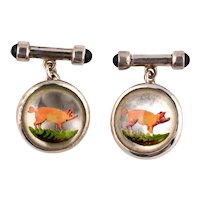 Vintage Essex crystal and silver cufflinks with piglets and onyx
