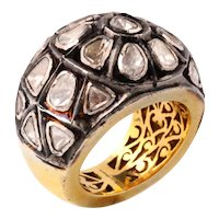 Indian silver and gold ring with rose-cut natural diamonds