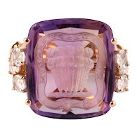Signet rose gold ring with amethyst and diamonds