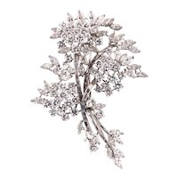 White gold ramage brooch with white diamonds