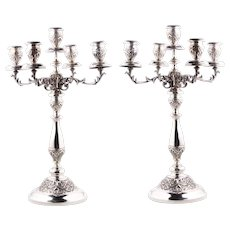 Pair of silver candelabra from Florence