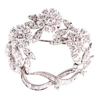 White gold brooch with diamonds