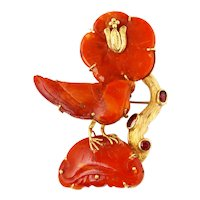 Antique chinese amber brooch with gold