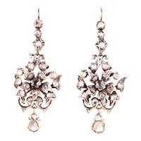 Pendant earrings with rose cut diamonds, silver and gold