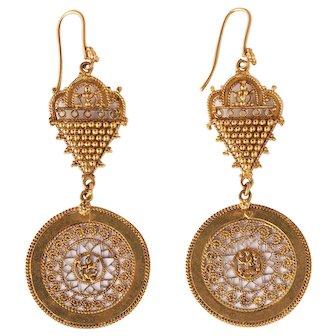 Vintage gold 18k Indian earrings