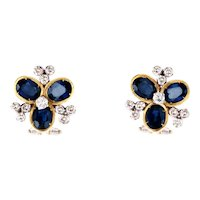 Flower earrings with sapphires, diamonds and gold