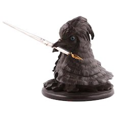 Tarnished bronze grouse penholder and inkwell