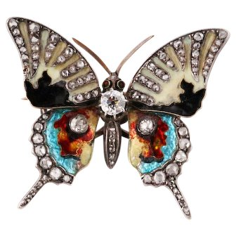 Antique gold and diamonds enamelled butterfly brooch