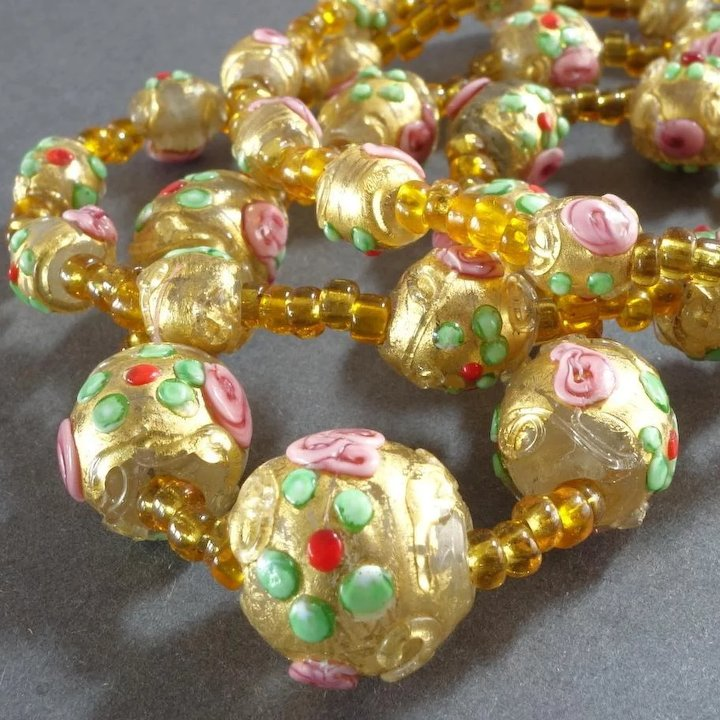 1920s Venetian Murano Glass Bead Necklace Wedding Cake Beads Gold ...
